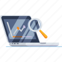 analytics, laptop, magnifier, magnifying, research, search, web icon
