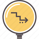 decline, decrease, economy, finance, growth, rate icon