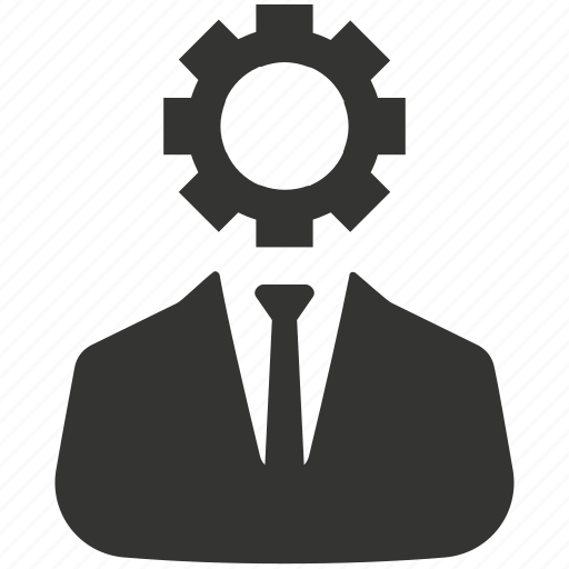 brainstorming, businessman, gear, strategy icon