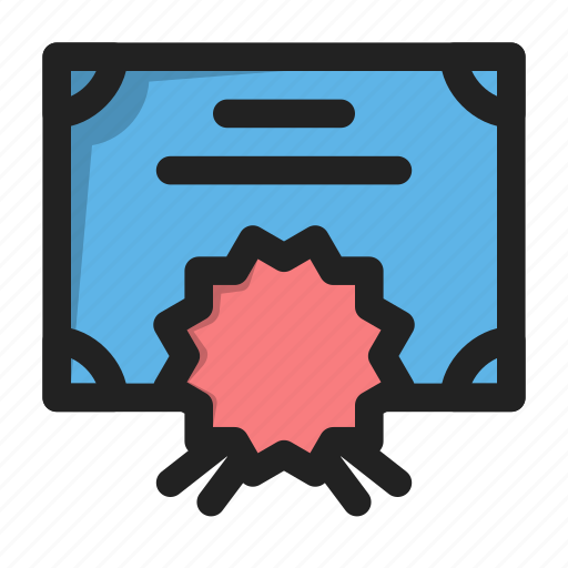 certificate, diploma, guarantee, license, seal icon