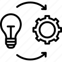 cogwheel, develop, gearwheel, idea, implementation icon