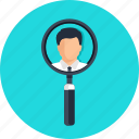 business, glass, information, loupe, magnify, magnifying, magnifying glass, profile, profile information, search, searching icon