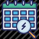 calendar, magnifier, uncertain, unplanned, unpredictable events