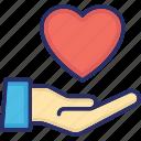 care, courtesy, hand, heart, kindness icon