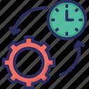 clock, cog, organize, schedule, time management