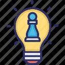 bulb, chess pawn, idea, planning, strategic thinking