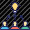 bulb, development, idea, team building, team efforts