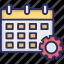 calendar, cog, event processing, schedule, timetable