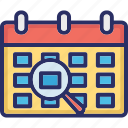 analysis, audit, calendar, find event, magnifier, significance event