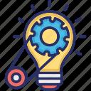 bulb, cog, creative cycle, creativity, idea