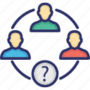 question mark, analytical group, collaboration, group, team icon