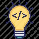 bulb, coding, developing creativity, development, html