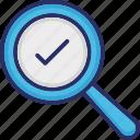 decision making, magnifier, problem solving, solution, tick