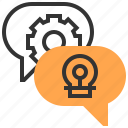 analysis, business, finance, idea, marketing, speech, strategy icon