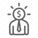 business, dollar, finance, manager, strategy, thinking icon