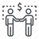 agreement, business, dollar, handshake, people, relationship, two icon