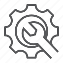 cogwheel, repair, service, support, technical, wrench icon
