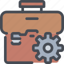 bag, business, case, gear, management, process icon