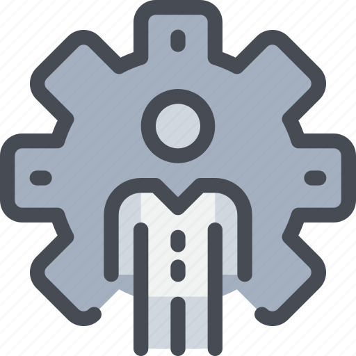 business, gear, man, management, person, process icon