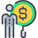 bank, banking, business, financial, man, person, search icon