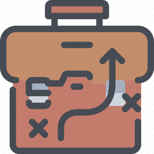 arrow, bag, business, case, planning, strategy icon