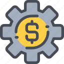 bank, business, finance, gear, money, process icon