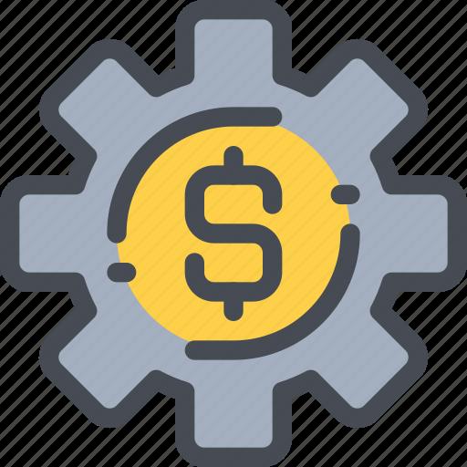 bank, business, finance, gear, money, process icon