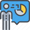business, communication, man, person, present, presentation, report icon