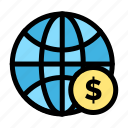a13, business, dollar, globe, money, world icon
