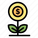 a4, business, dollar, flower, growth, money icon