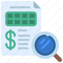 financial, audit, search, finances icon