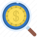 value, search, money, loupe icon