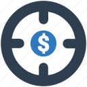 business goal, target money icon