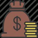 capital, money, bag, cash