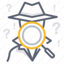 data collection, find, investigate, pursue, research, search, spy icon