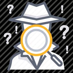 data collection, find, investigate, pursue, research, search, spy icon