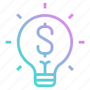 bulb, business, idea, investment, light, startup icon