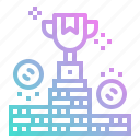 business, coin, place, podium, position, reward, trophy icon