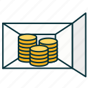 coints, deposit box, money, money storage, section icon