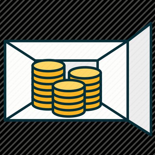 coints, deposit box, money, money storage, section icon
