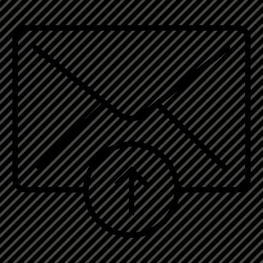 email, envelope, letter, mail, message, send, upload icon