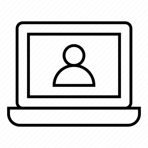 account, avatar, internet, laptop, person, profile, usinglaptop icon