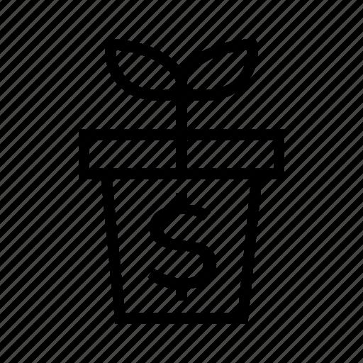 flowerpot, growing profit, rising, sprouting icon