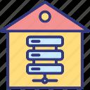 data center, data storage, data warehouse, database icon