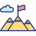 goal, mission, mountain flag, victory icon