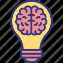 brain questions, brainstorming, innovation, mental genius icon
