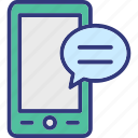 chat screen, communication, mobile chat, mobile message icon
