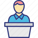 lecturer, presentation, seminar, superior leader icon