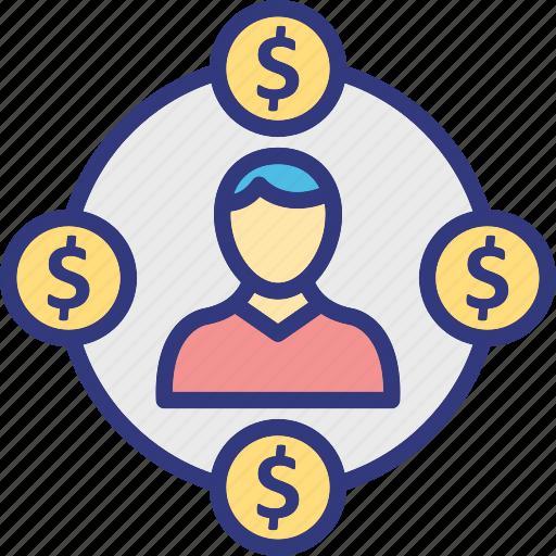 business circle, businessman, entrepreneur, financial network icon