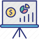 business graph, business presentation, chart, data analytics icon